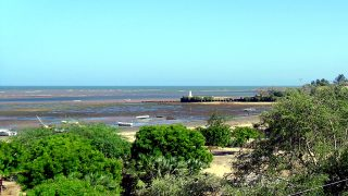 Port of Malindi-In the background Vasco da Gama Pillar